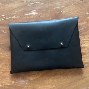 TRIBE ALIVE Black Leather Envelope Clutch
